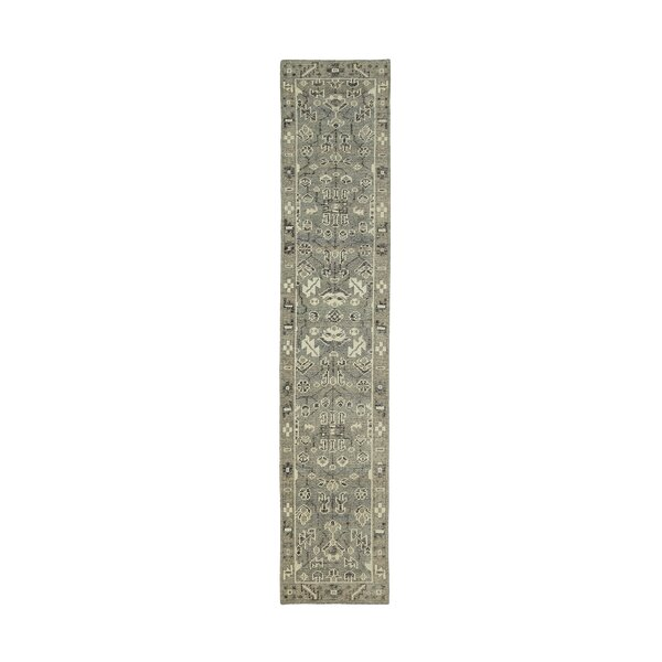 Romeo Hand-Knotted Wool Ivory/Charcoal Area Rug by Charlton Home