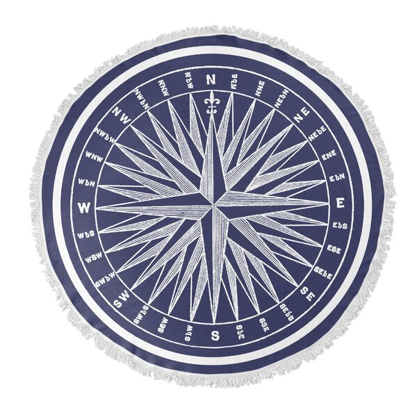Nautical Compass Round Beach Towel by KAVKA DESIGN