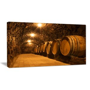 'Oak Barrels in the Tunnel' Photographic Print on Wrapped Canvas by Design Art