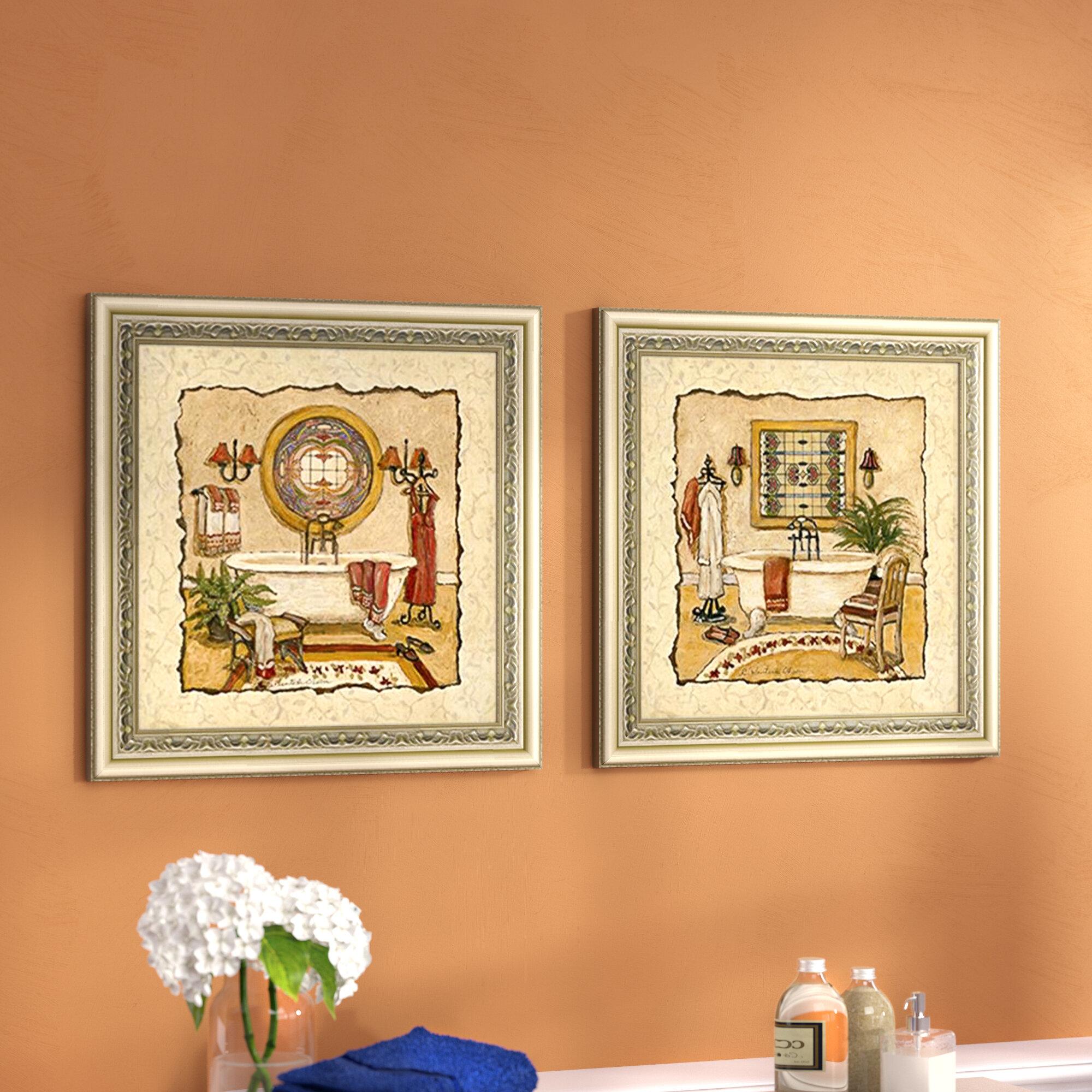 Charlton Home Art Deco Bath\' 2 Piece Framed Acrylic Painting Print ...