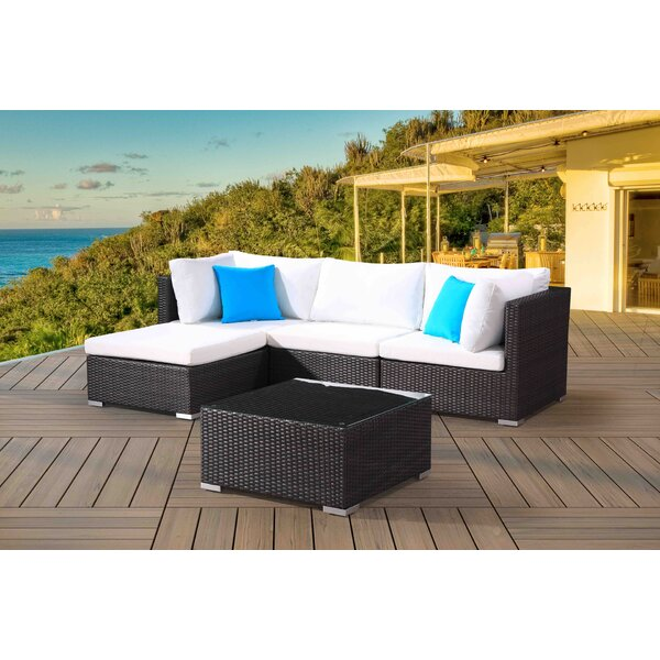 DeSoto 5 Piece Sectional Seating Group with Cushions by Darby Home Co