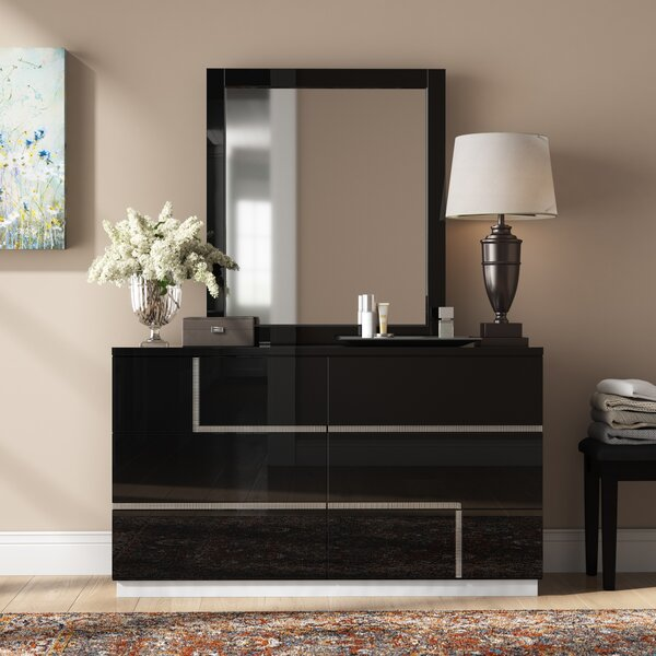 Dalia 6 Drawer Double Dresser with Mirror by Orren Ellis