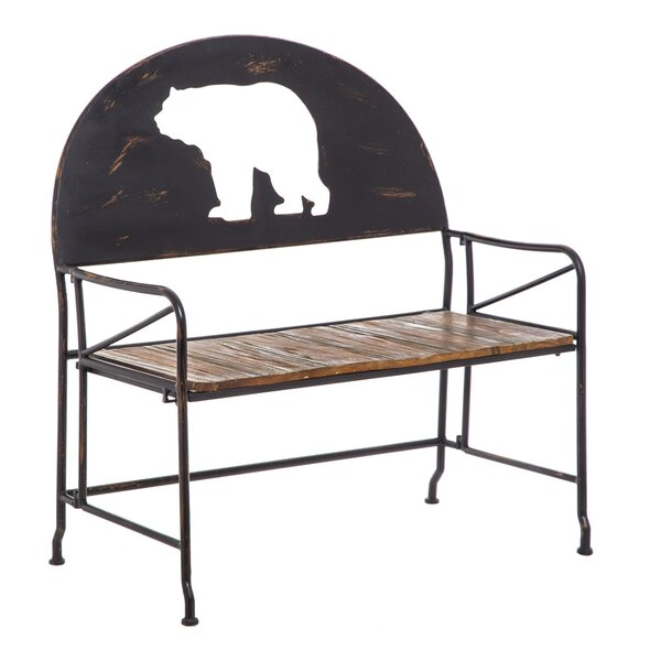 Sykes Iron and Wooden Bear Garden Bench by Millwood Pines