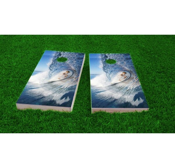 Big Wave Surfer Light Weight Cornhole Game Set by Custom Cornhole Boards