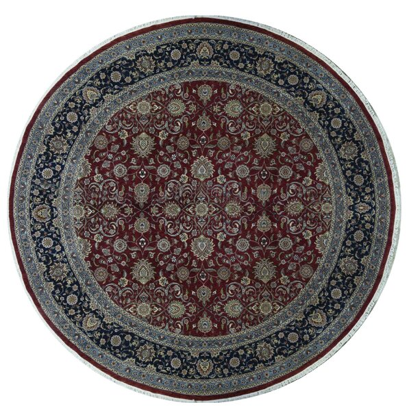 Hand-Knotted Wool Wine/Navy Rug