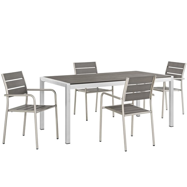 Coline Outdoor Rectangular Patio Aluminum 5 Piece Dining Set by Orren Ellis