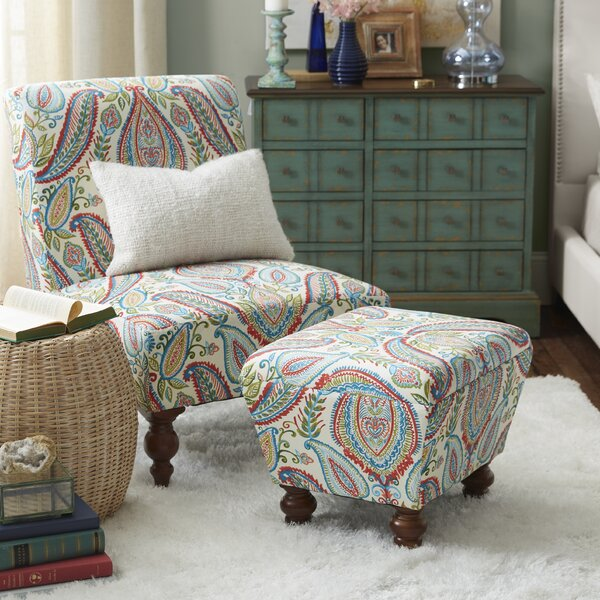 Yareli Slipper Chair and Ottoman by Mistana