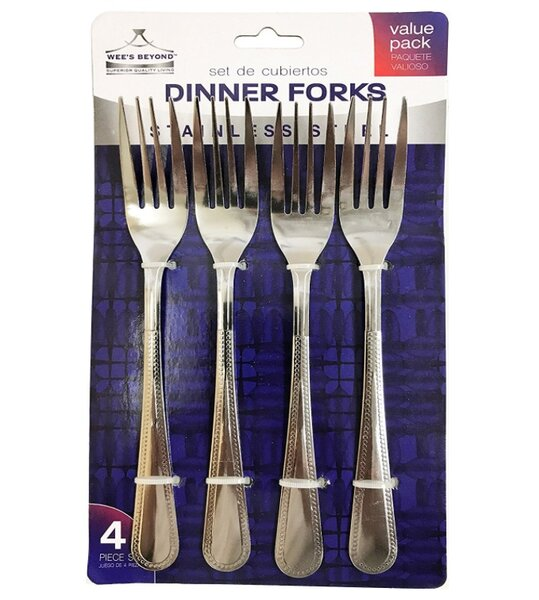 Stainless Steel Dinner Fork (Set of 4) by Wee's Beyond