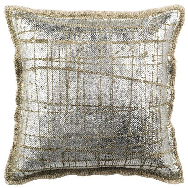 Jonah Metallic Grid Throw Pillow by Brayden Studio