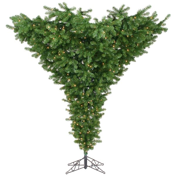 Upside Down 7.5' Green Artificial Christmas Tree With 650 Dura-Lit Clear Lights With Stand By Vickerman by Vickerman
