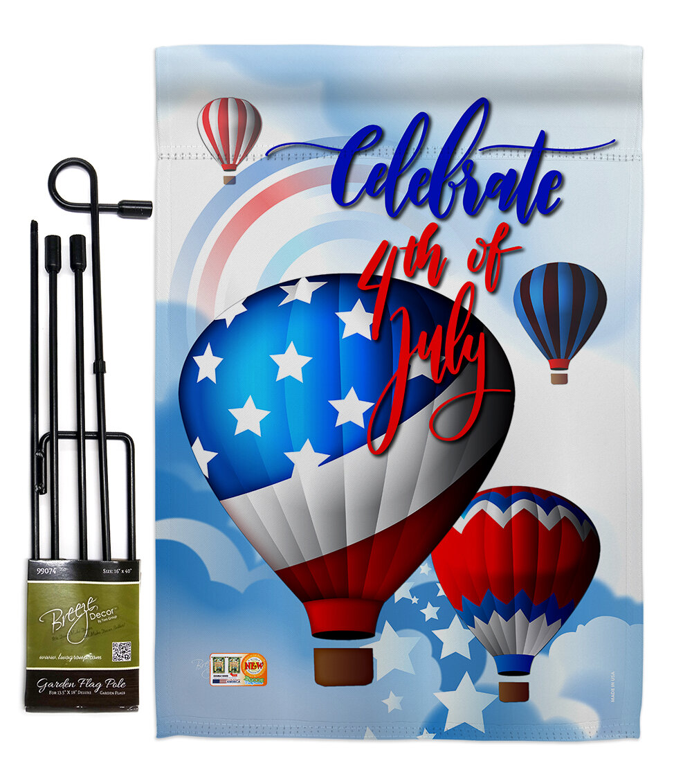 Breeze Decor July 4th Hot Air Balloon Americana 4th Of Impressions 2 Sided Polyester 19 X 13 In Flag Set Wayfair