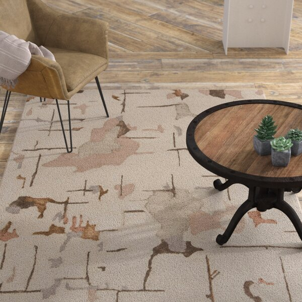 Barbro Hand-Tufted Beige/Brown Area Rug by 17 Stories