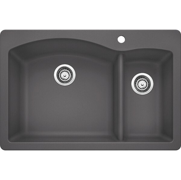 Diamond 33 L x 22 W 2 Basin Drop-In Kitchen Sink by Blanco