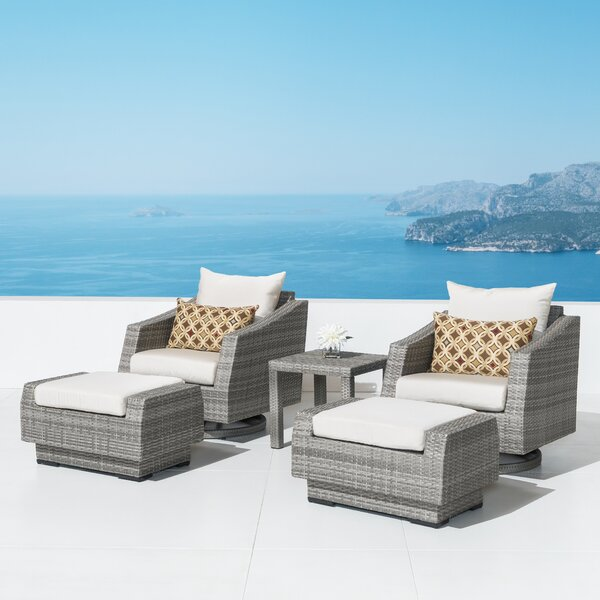 Castelli Deep 5 Piece Rattan Sunbrella Seating Group with Cushions by Wade Logan Wade Logan