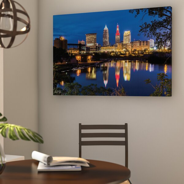 Cleveland River Reflection Photographic Print on Wrapped Canvas by Wrought Studio