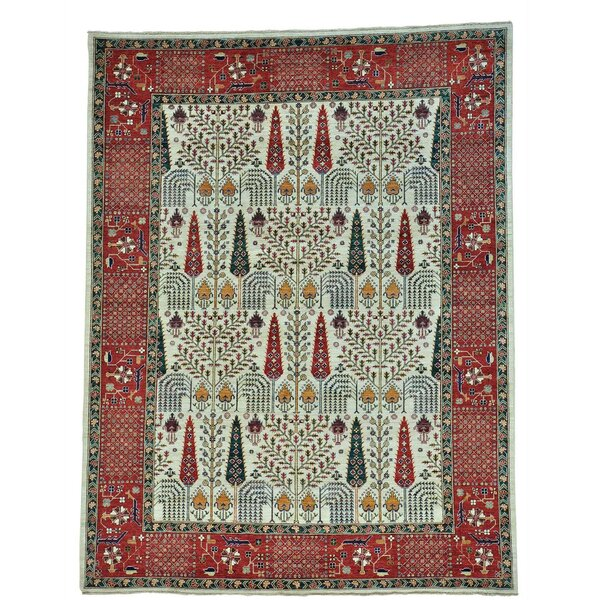 One-of-a-Kind Bagby Vintage Overdyed Hamadan Hand-Knotted Ivory Area Rug by Isabelline