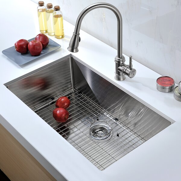 Vanguard 32 L X 19 W Single Bowl Undermount Kitchen Sink With Drain Assembly By Anzzi.