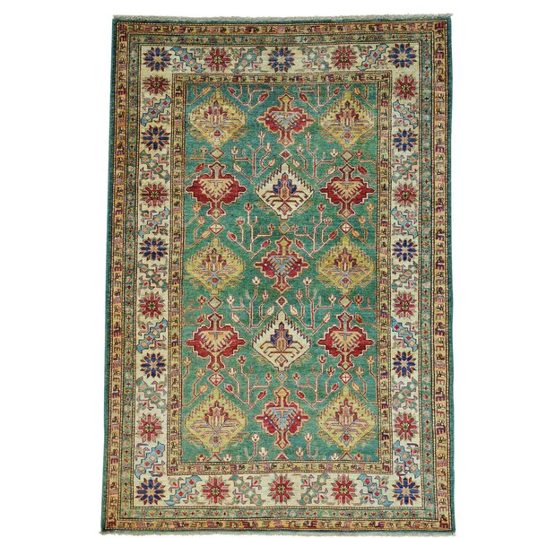 One-of-a-Kind Tillett Super Hand-Knotted Teal Area Rug by Millwood Pines