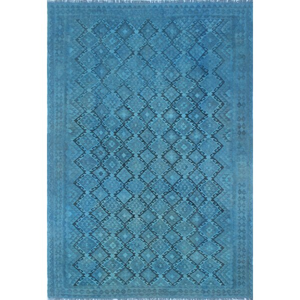 Bunche Park Overdyed Kilim Hand Woven Wool Blue Area Rug by Bloomsbury Market