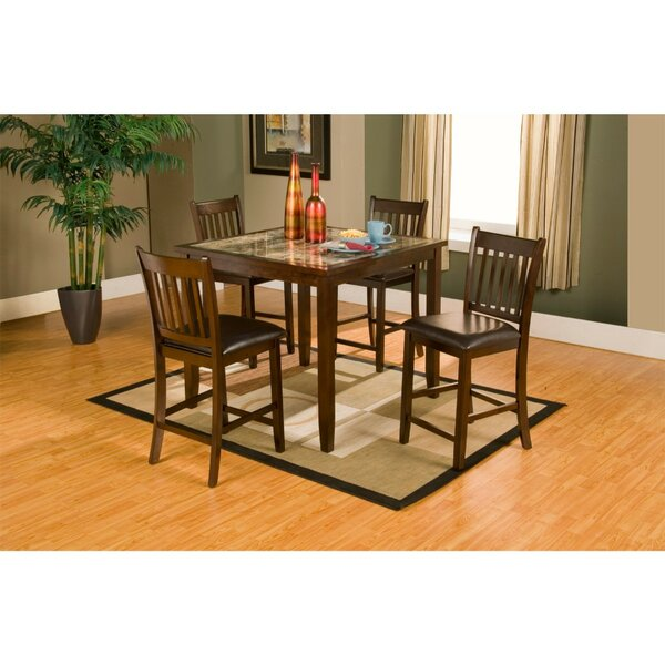 Gassett Faux Marble Top 5 Piece Solid Wood Pub Table Set by Red Barrel Studio