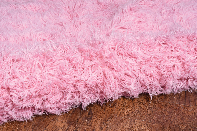 Rae Kathleen Flokati Wool Pink Kids Rug