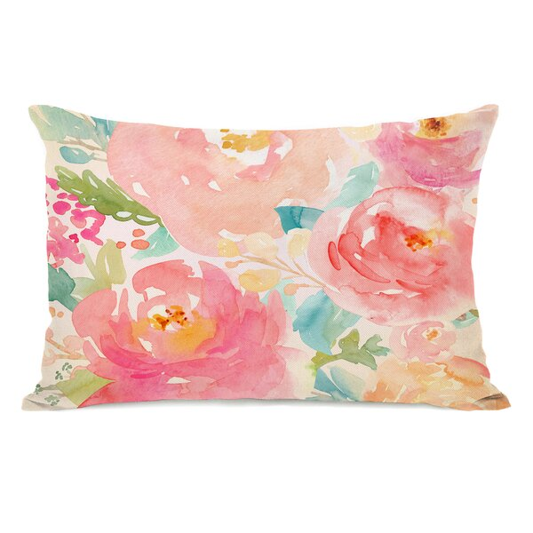 Lafon Popping Peonies Outdoor Lumbar Pillow by House of Hampton