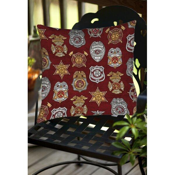 Firefighter Badges Indoor/Outdoor Throw Pillow by Manual Woodworkers & Weavers