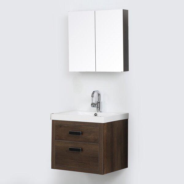 24 Wall Mounted Single Bathroom Vanity Set with Mirror by Streamline Bath