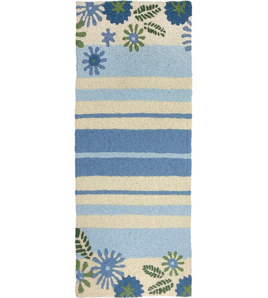 Jaggers Daisies and Stripes Hand-Hooked Blue/Beige Indoor/Outdoor Area Rug by Winston Porter