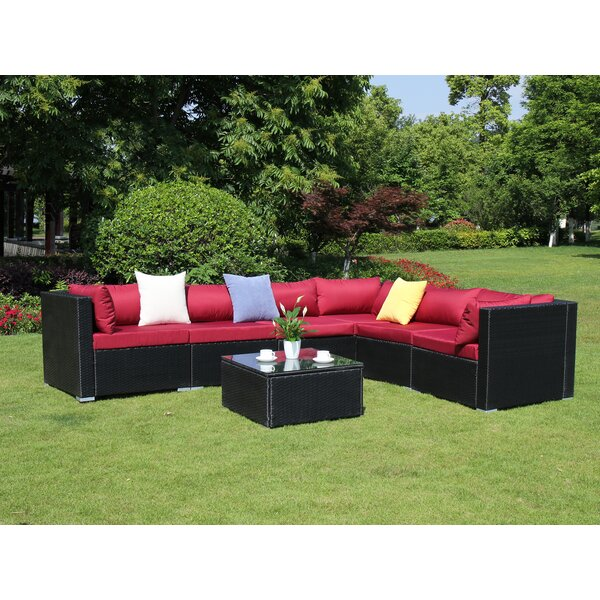 Roumfort Complete 7 Piece Rattan Sectional Seating Group with Cushions by Orren Ellis