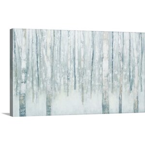 'Birches in Winter Blue Gray' by Julia Purinton Painting Print on Wrapped Canvas by Great Big Canvas