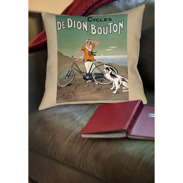 Cycles De Doin Bouton Printed Throw Pillow by Manual Woodworkers & Weavers