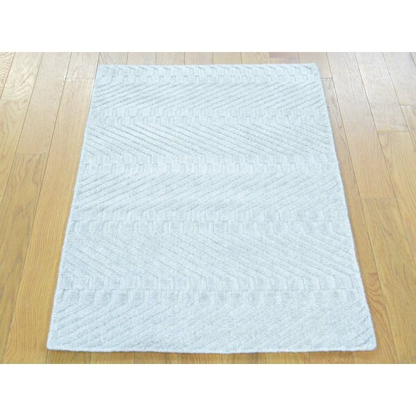 One-of-a-Kind Bean Handwoven Ivory Wool/Silk Area Rug by Isabelline