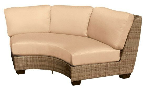 Saddleback Curved Armless Sectional Piece with Cushions by Woodard