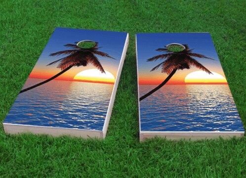 Palm Tree Sunset Cornhole Game (Set of 2) by Custom Cornhole Boards