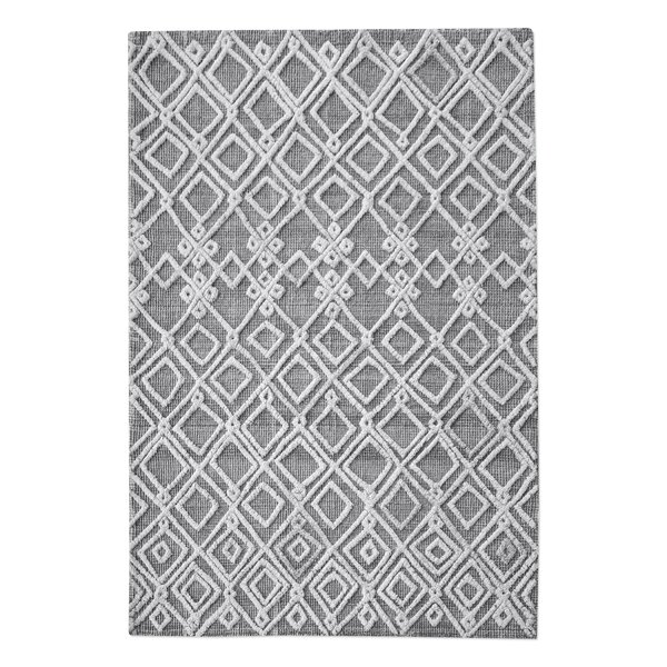 Nicoletti Hand-Woven Rectangle Wool Gray/Ivory Area Rug by Brayden Studio