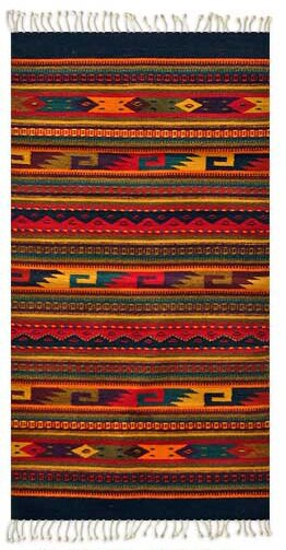 Artisan Crafted Multicolor Fiesta Hand Woven Mexican Naturally Dyed Wool Home Decor Area Rug by Novica