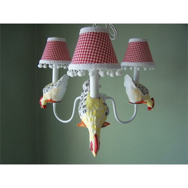 Farmyard Friends 4-Light Shaded Chandelier by Silly Bear Lighting