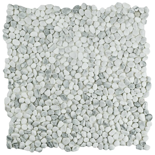 Kamyk 12.25 x 12.25 Pebble Stone Mosaic Tile in White/Gray by EliteTile