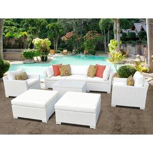 Monaco Outdoor Wicker Patio 8 Piece Conversation Set With Cushions