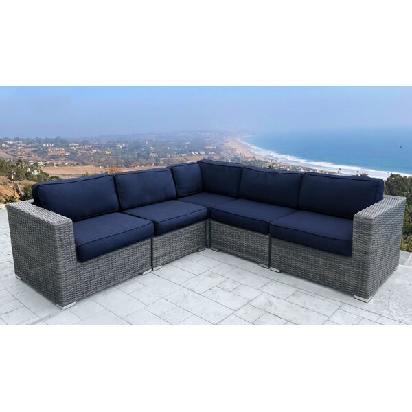 Watts 5 Piece Rattan Sunbrella Sectional Seating Group with Cushions by Rosecliff Heights