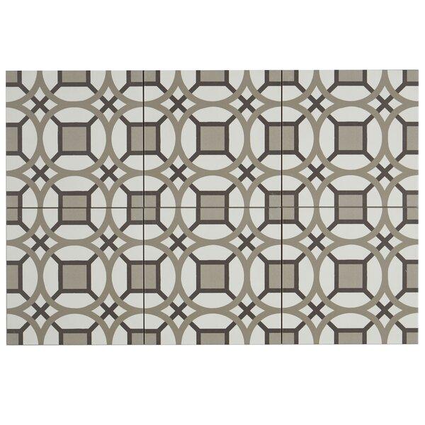 Encausto 8 x 8 Porcelain Field Tile in White/Brown by Itona Tile
