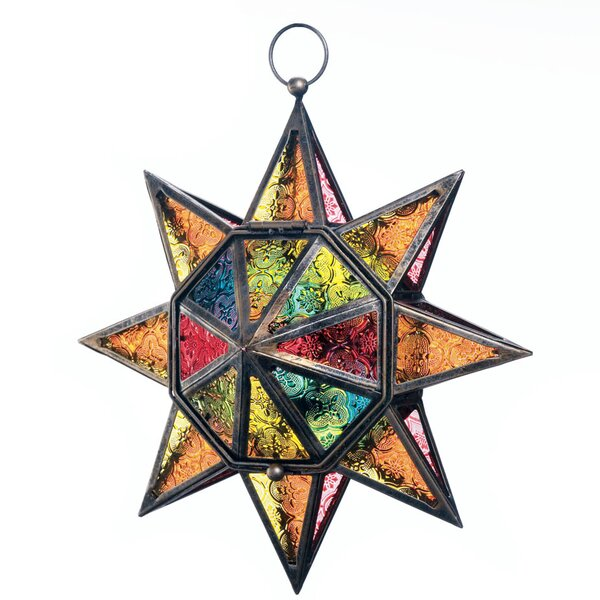Multi-Faceted Colorful Glass/Iron Lantern by Bloomsbury Market