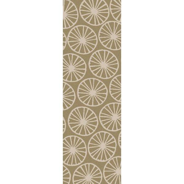 Byington Coastal Hand-Woven Wool Ivory/Olive Area Rug by Highland Dunes