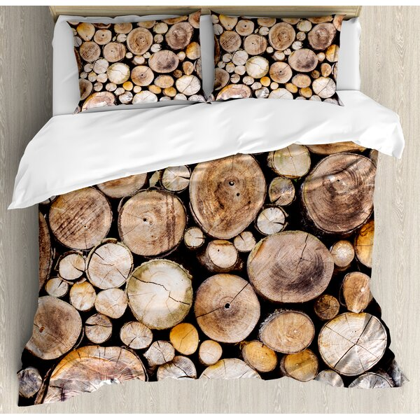 Wooden Logs Background Circular Shaped Oak Tree Life and Growth Theme Duvet Set by Ambesonne