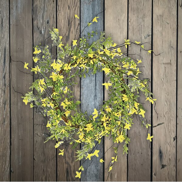 24 Forsythia and Twig Wreath by August Grove