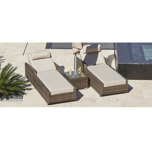 Rezendes Sun Lounger Set with Cushions and Table by Orren Ellis Orren Ellis