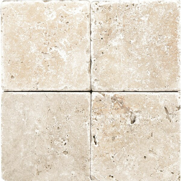 Rustic Tumbled 4 x 4 Travertine Field Tile in Ivory by Parvatile