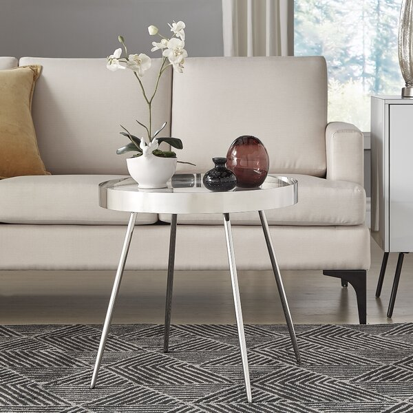 Conkle Stainless Steel Marbled Tray Table by Mercer41