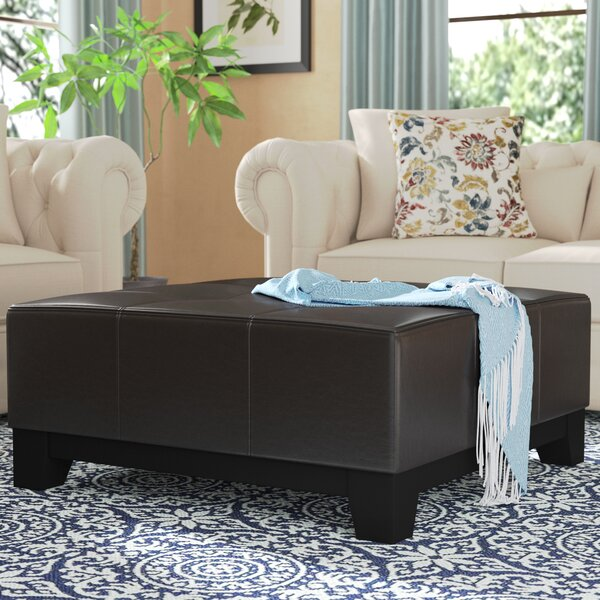 Dessie Leather Tufted Cocktail Ottoman by Andover Mills